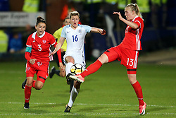 Ellen White of England challenges Anna Belomyttseva of Russia - Mandatory by-line: Matt McNulty/JMP - 19/09/2017 - FOOTBALL - Prenton Park - Birkenhead, United Kingdom - England v Russia - FIFA Women's World Cup Qualifier