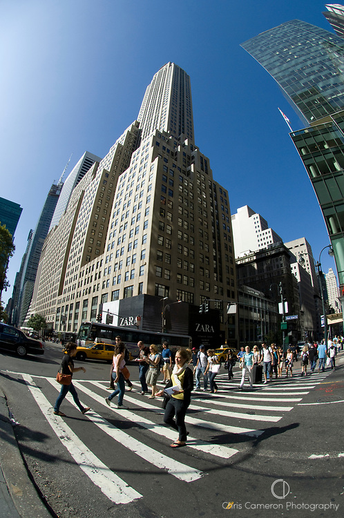 Fisheye lens view of pedestrians crossing a street, 5th Avenue, Manhattan, New York City.