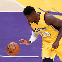 26 October 2016: Los Angeles Lakers forward Julius Randle (30) brings the ball up court during the Los Angeles Lakers 120-114 victory over the Houston Rockets, at the Staples Center, Los Angeles, California, USA.