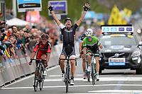 Sykkel<br /> 06.04.2014<br /> Flanderen Rundt<br /> Foto: PhotoNews/Digitalsport<br /> NORWAY ONLY<br /> <br />  CANCELLARA Fabian (SUI - TREK FACTORY RACING) wins before VAN AVERMAET Greg (BEL - BMC Racing team), VANMARCKE Sep (BEL - Belkin-Pro Cycling team) and VANDENBERGH Stijn (BEL - Omega Pharma - Quick-Step cycling team) the Flanders Classics UCI WorldTour 98th Ronde van Vlaanderen cycling race with start in Brugge and finish in Oudenaarde on April 6, 2014 in Oudenaarde, Belgium.