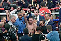 LAS VEGAS, NEVADA - JULY 20. <br /> Manny Pacquiao waves to his fans after going 12 rounds with Keith Thurman during their fight for the WBA welterweight title fight at MGM Grand Garden Arena on July 20, 2019 in Las Vegas, Nevada. Pacquiao took the win by a split decision.  (MB Media)