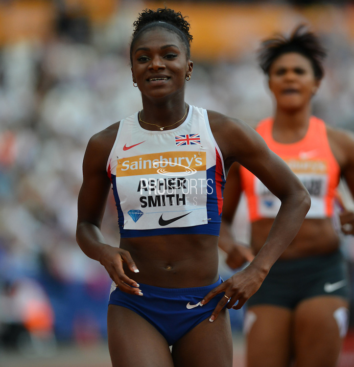 Dina Asher Smith during the Sainsbury's Anniversary Games at the Queen Elizabeth II Olympic Park, London, United Kingdom on 25 July 2015. Photo by Mark Davies.