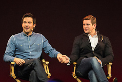 © licensed to London News Pictures. London, UK 31/10/2012. Downton Abbey stars Rob James-Collier (left) and Allen Leech (right) holding hands as they speak to their fans at Apple Store during a Meet the Cast event on Regent Street, London on 31/10/12. Photo credit: Tolga Akmen/LNP