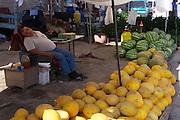 Uzbekistan, Khiva, Dekhon Bazaar. Melons.