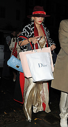 Rita Ora arriving home after attending Mario Testino's 60th birthday party at The Chiltern Firehouse in London, UK. 29/10/2014<br />BYLINE MUST READ : GOTCHAIMAGES.COM<br /><br />Copyright by © Gotcha Images Ltd. All rights reserved.<br />Usage of this image is conditional upon the acceptance <br />of Gotcha Images Ltd, terms and conditions available at<br />www.gotchaimages.com