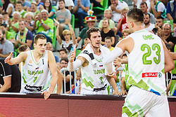 Klemen Prepelic and Goran Dragic of Slovenia during qualifying match between Slovenia and Kosovo for European basketball championship 2017,  Arena Stozice, Ljubljana on 31th August, Slovenia. Photo by Grega Valancic / Sportida