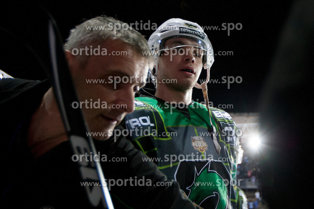 14.09.2012. Pula Arena, Pula, CRO, EBEL, KHL Medvescak Zagreb vs HDD Telemach Olimpija Ljubljana, 03. Runde, in picture players of KDD Telemach Olimpija during the Erste Bank Icehockey League 3rd Round match between KHL Medvescak Zagreb and HDD Telemach Olimpija Ljubljana at the Pula Arena, Pula, Croatia on 2012/09/14. (Photo By Urban Urbanc / Sportida)