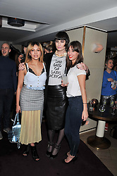 Left to right, ZARA MARTIN, ERIN O'CONNOR and LAURA JACKSON at the launch of 'She Died of Beauty' as part of London Fashion Week Autumn/Winter 2012 held at The Club at The Ivy Club, London on 17th February 2012.