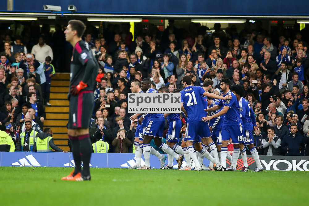 Pedro and the chelsea team celebrate During Chelsea vs Sunderland on Saturday the 19th December 2015.