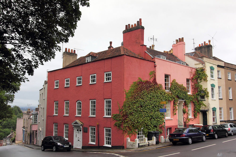Colourful houses at the top of the hill on Clifton Wood Road in Bristol