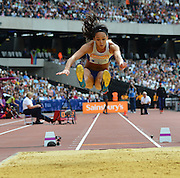 GB long jumper Katarina Johnson-Thompson during the Sainsbury's Anniversary Games at the Queen Elizabeth II Olympic Park, London, United Kingdom on 25 July 2015. Photo by Mark Davies.
