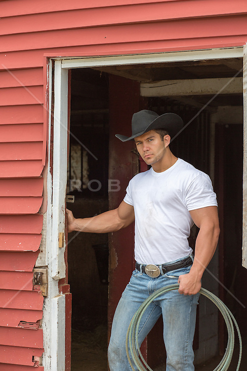 Rugged All American Cowboy On A Ranch