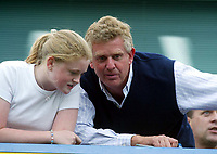 Photo. Andrew Unwin, Digitalsport<br /> NORWAY ONLY<br /> <br /> Chelsea v Leeds United. FA Barclaycard Premiership. 15/05/2004.<br /> Colin Montgomerie puts recent family troubles behind him, and watches the match with his daughter
