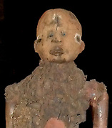 A power figure used by ritual shaman as a magic fetish doll. Wood, iron and fibre. Congo cultureribe, Democratic Republic of the Congo (Zaire), early 20th Century