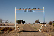 The Goodnight Cemetery sits just across US 287 from the Goodnight Ranch in Goodnight, Texas. Visitors tie handkerchefs to the fence surrounding the final resting places of both Charles and Mary Ann Goodnight.