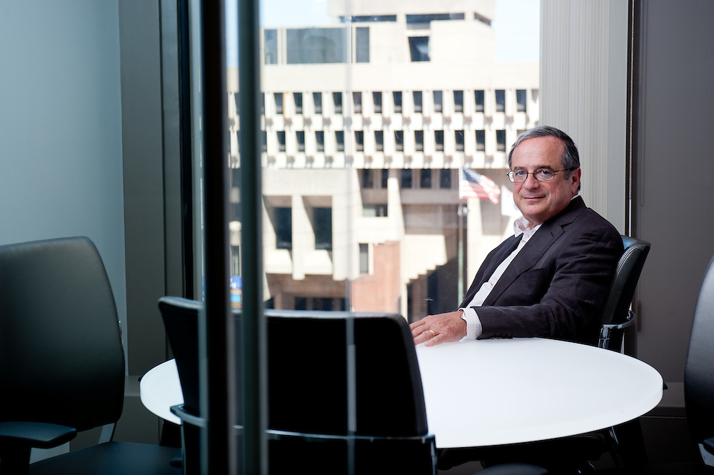 CEO of Beacon Communities Howard Cohen photographed in its downtown Boson offices for the Mass Housing Annual Report.
