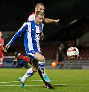 Picture by David Horn/Focus Images Ltd +44 7545 970036.16/10/2012.Ryan Noble of Hartlepool United appeals for a penalty during the npower League 1 match at the Matchroom Stadium, London.