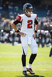OAKLAND, CA - SEPTEMBER 18: Quarterback Matt Ryan #2 of the Atlanta Falcons warms up before the game against the Oakland Raiders at Oakland-Alameda County Coliseum on September 18, 2016 in Oakland, California. The Atlanta Falcons defeated the Oakland Raiders 35-28. Photo by Jason O. Watson/Getty Images) *** Local Caption *** Matt Ryan