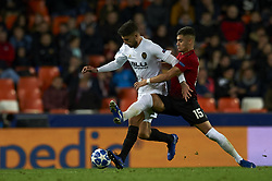 December 12, 2018 - Valencia, Spain - Cristiano Piccini of Valencia and Andreas Pereira of Manchester United during the match between Valencia CF and Manchester United at Mestalla Stadium in Valencia, Spain on December 12, 2018. (Credit Image: © Jose Breton/NurPhoto via ZUMA Press)