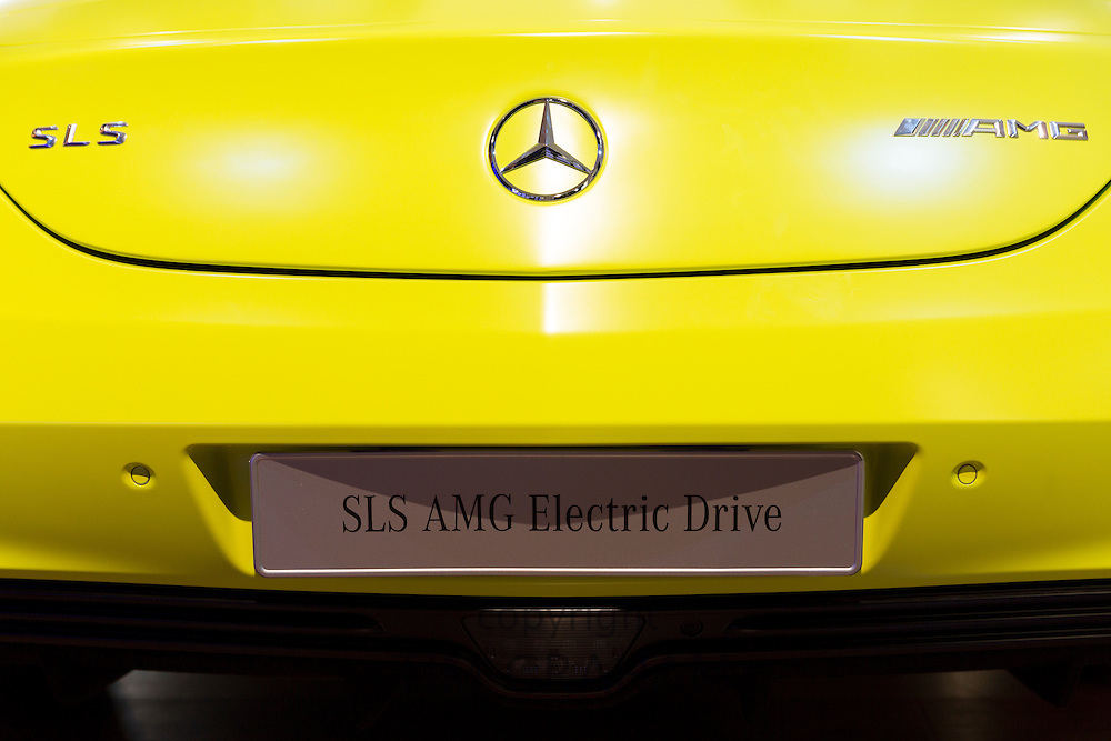 AMG SLS Coupe Electric Drive motor car on display at the AMG Mercedes gallery showroom in Odeonsplatz, Munich, Bavaria, Germany
