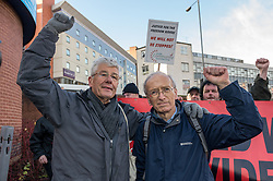 L-R George Arthur and Tony Nuttall, two freedom riders arrested by British Transport police. Dec 2014 Sheffield