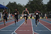 Jun 22, 2019; Miramar, FL, USA; Matthew Boling (center) wins the 100m in a wind-aided 10.15 during the USATF U20 Championships at Ansin Sports Complex. From left: Dante Brown Jr., Arian Smith, Boling and Justin Ofotan.