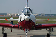 A Japanese Air Self-Defense Force Fuji T-4 trainer on display at the Komaki Airshow.