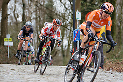 Jolanda Neff descends off Kemmelberg for the final time - Women's Gent Wevelgem 2016, a 115km UCI Women's WorldTour road race from Ieper to Wevelgem, on March 27th, 2016 in Flanders, Belgium.
