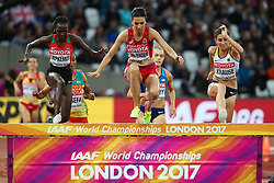 London, August 09 2017 . Fadwa Sidi Madane, Morocco, ahead of Hyvin Kiyeng Jepkemoi, Kenya, and Gesa Felicitas Krause, Germany, in the women's 3,000m steeplechase heats on day six of the IAAF London 2017 world Championships at the London Stadium. © Paul Davey.