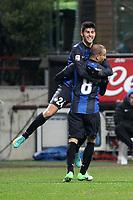 "Esultanza Rodrigo Palacio Marco Benassi Inter.Goal celebration.Milano 12/01/2013 Stadio ""S.Siro"".Football Calcio Serie A 2012/13.Inter v Pescara.Foto Insidefoto Paolo Nucci."