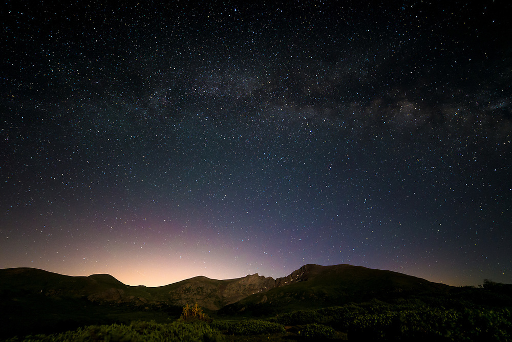This picture shows the  night sky and stars over Mount Bierstadt a 14,000ft peak in Colorado.<br /> <br /> Camera <br /> NIKON D610<br /> Lens <br /> 14.0 mm f/2.8<br /> Focal Length <br /> 14<br /> Shutter Speed <br /> 30<br /> Aperture <br /> 2.8<br /> ISO <br /> 1600