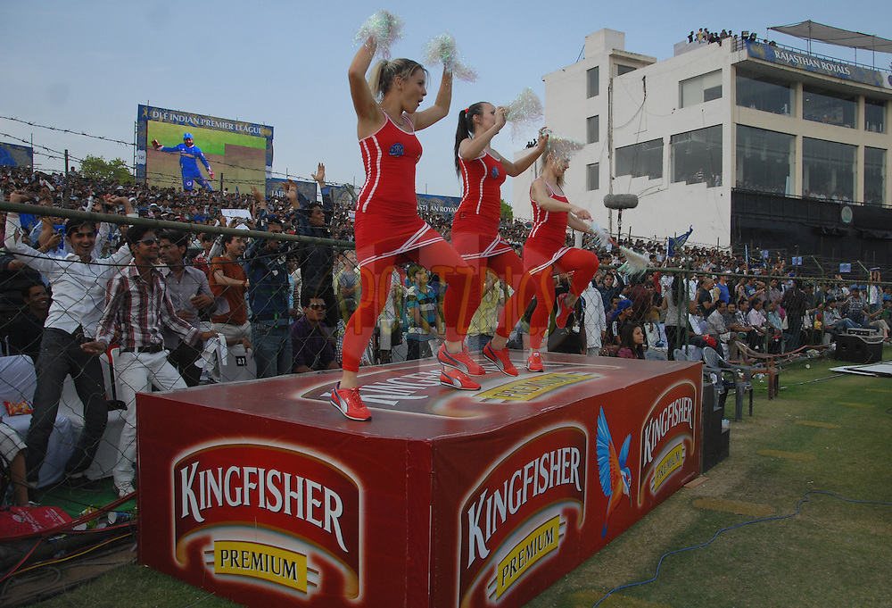 Kingfisher cheer girls during match 7 of the the Indian Premier League ( IPL) 2012  between The Rajasthan Royals and the Kolkata Knight Riders held at the Sawai Mansingh Stadium in Jaipur on the 8th April 2012Photo by Arjun Panwar/IPL/SPORTZPICS
