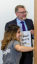 Pictured: David Mundell could rely on Team Leader Anikta Narayan to help out as he jined a session.<br /> <br /> Scottish Secretary David Mundell visited a 'digital garage' in Edinburgh which trains people in digital skills. The Google Digital Garage, in Shandwick Place is a social responsibility outlet for the corporate giant<br /> <br /> <br /> Ger Harley | EEm 23 July 2018