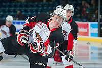 KELOWNA, CANADA - DECEMBER 5: Marc McNulty #3 of Prince George Cougars warms up against the Kelowna Rockets on December 5, 2014 at Prospera Place in Kelowna, British Columbia, Canada.  (Photo by Marissa Baecker/Shoot the Breeze)  *** Local Caption *** Marc McNulty;