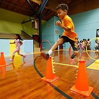 Thomas Wells | Buy at PHOTOS.DJOURNAL.COM<br /> Lawhon Elementary School student Mattox Triplett, 6, completes the second stage of an obstacle course put on by HealthWorks Tuesday as part of Health Week.