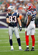 New England Patriots wide receiver Wes Welker (83) points at Buffalo Bills cornerback Drayton Florence (29) who points back at Welker after an official's call during the NFL regular season week 3 football game against the Buffalo Bills on September 26, 2010 in Foxborough, Massachusetts. The Patriots won the game 38-30. (©Paul Anthony Spinelli)