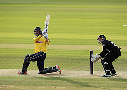Hampshire's James Vince slog sweeps - Photo mandatory by-line: Robbie Stephenson/JMP - Mobile: 07966 386802 - 19/06/2015 - SPORT - Cricket - Southampton - The Ageas Bowl - Hampshire v Sussex - Natwest T20 Blast