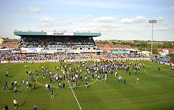 Bristol Rovers Fans get Chased off the field by horses. - Photo mandatory by-line: Alex James/JMP - Mobile: 07966 386802 03/05/2014 - SPORT - FOOTBALL - Bristol - Memorial Stadium - Bristol Rovers v Mansfield - Sky Bet League Two