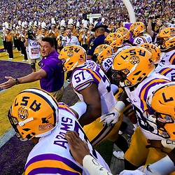 Oct 1, 2016; Baton Rouge, LA, USA;  LSU Tigers interim head coach Ed Orgeron walks out with the team before a game against the Missouri Tigers at Tiger Stadium. Mandatory Credit: Derick E. Hingle-USA TODAY Sports