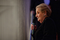 "Former US Secretary of State, Madeline Albright at the opening reception of her exhibit and book release, ""Read MY Pins: StoriesFrom A Diplomat's Jewel Box"", at the Museum of Art and Design Columbus Circle in New York. (Photo by Robert Caplin)"