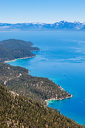 """Lake Tahoe East Shore 1"" - Photograph of a wavy shoreline along the East Shore of Lake Tahoe, shot from above Sand Harbor."