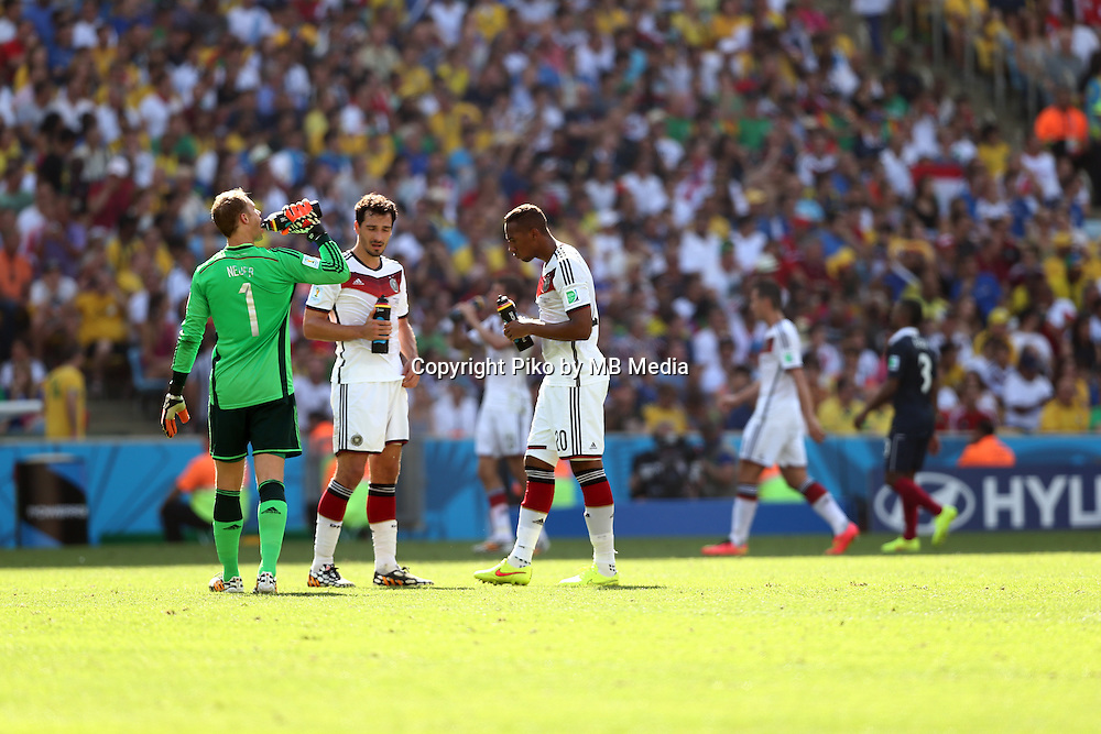 Fifa Soccer World Cup - Brazil 2014 - <br /> FRANCE (FRA) Vs. GERMANY (GER) - Quarter-finals - Estadio do Maracana Rio De Janeiro -- Brazil (BRA) - 04 July 2014 <br /> Here German players GK Manuel NEUER (L),  Mats HUMMELS (C) and Jerome BOATENG (R)<br /> &copy; PikoPress
