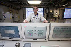 Lt Andrew Watkins, Ship Control Centre. Tour of the Queen Elizabeth Aircraft Carrier under construction at the Babcock site in Rosyth dockyard.