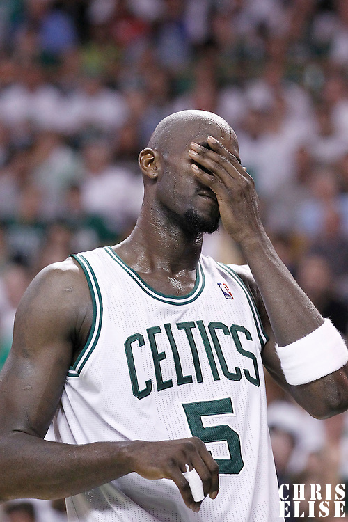 26 May 2012: Boston Celtics power forward Kevin Garnett (5) looks in pain during the Boston Celtics 85-75 victory over the Philadelphia Sixer, in Game 7 of the Eastern Conference semifinals playoff series, at the TD Banknorth Garden, Boston, Massachusetts, USA.