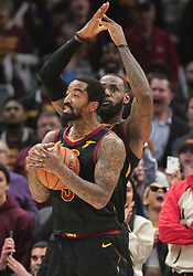 April 25, 2018 - Cleveland, OH, USA - The Cleveland Cavaliers' LeBron James and JR Smith both call a time-out after James blocked a shot by the Indiana Pacers' Victor Oladipo in the fourth quarter of Game 5 on Wednesday, April 25, 2018, at Quicken Loans Arena in Cleveland. The Cleveland Cavaliers won, 98-95, for a 3-2 series lead. (Credit Image: © Leah Klafczynski/TNS via ZUMA Wire)