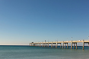 Okaloosa Island Pier along the turquoise waters of the Gulf of Mexico in Fort Walton Beach, Florida.
