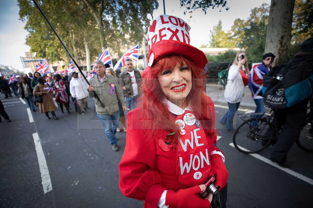 © Licensed to London News Pictures. 31/10/2019. London, UK. A pro-Brexit demonstrators wears a hat saying 'I love Brexit' as protesters gather near Parliament on what would have been the United Kingdom's last day as a member of the European Union. The date of Brexit had been moved to January 31, 2020 after MPs failed to pass Prime Minister Boris Johnson's withdrawal agreement. Photo credit: Peter Macdiarmid/LNP