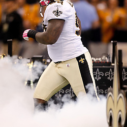 October 3, 2010; New Orleans, LA, USA; New Orleans Saints defensive tackle Sedrick Ellis (98) during introduction prior to kickoff of a game between the New Orleans Saints and the Carolina Panthers at the Louisiana Superdome. Mandatory Credit: Derick E. Hingle
