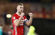 Ben Gibson of Middlesbrough  applauds the fans at full time during the EFL Sky Bet Championship match between Middlesbrough and Leeds United at the Riverside Stadium, Middlesbrough, England on 2 March 2018. Picture by Paul Thompson.