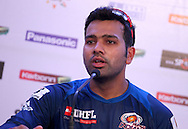 Rohit Sharma addresses the media during the Mumbai Indians nets session held at the Sawai Mansingh Stadium in Jaipur on the 26th September 2013<br /> <br /> Photo by Ron Gaunt-CLT20-SPORTZPICS <br /> <br /> Use of this image is subject to the terms and conditions as outlined by the CLT20. These terms can be found by following this link:<br /> <br /> http://sportzpics.photoshelter.com/image/I0000NmDchxxGVv4